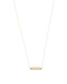 Pave Bar Pendant Necklace In Gold Tone
