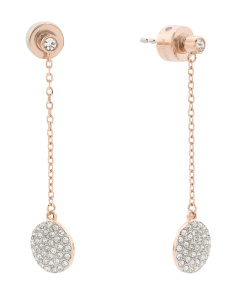 Pave Crystal Drop Earrings In Rose Gold Tone