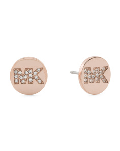 Pave Crystal Logo Stud Earrings In Rose Gold Tone