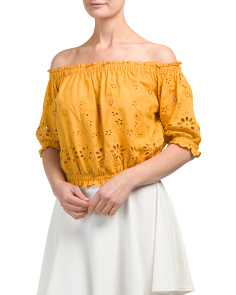 Juniors Off The Shoulder Laser Cut Top