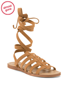 Made In Italy Lace Up Suede Sandals