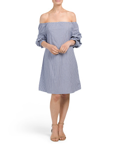 Off The Shoulder Pinstriped Dress