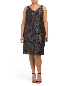 Plus V Neck Lace Sheath Dress