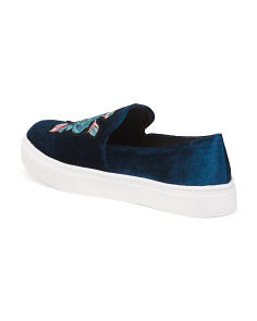 Embroidered Velvet Slip On Sneakers