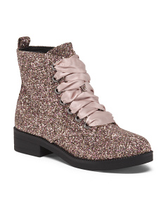 Glitter Fashion Boots With Ribbon Lace
