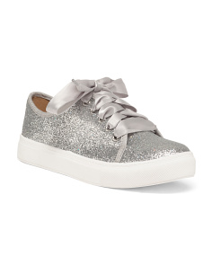 Ribbon Lace Glitter Sneakers