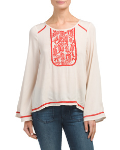 Juniors Embroidered Bell Sleeve Top