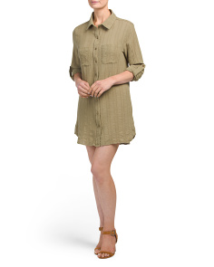 Juniors Button Down Utility Dress