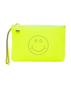 Leather Smiley Pouch