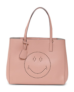 Made In Italy Smiley Leather Shopper Tote