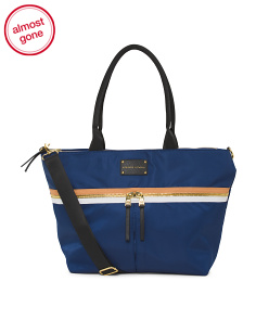 Nylon Zip Top Stripe Tote