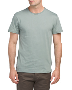 Short Sleeve Raw Edge Crew Neck Tee