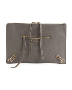 Made In Italy Metallic Edge Leather Pouch