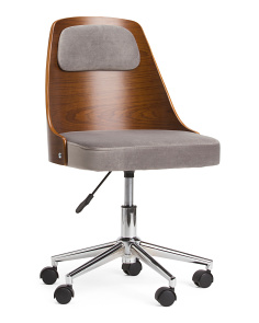 Fabric And Wood Swivel Office Chair