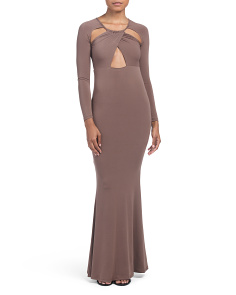 Juniors Cutout Long Sleeve Maxi Dress