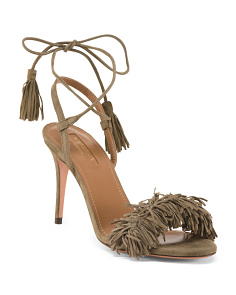 Made In Italy Suede Fringe Dress Sandals