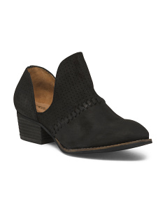 Open Side Low Leather Booties