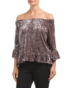 Velvet Off The Shoulder Ruffle Top