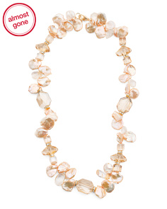 Gold Plated Sterling Silver Peach Pearl Crystal Necklace
