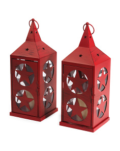 Set Of Two Rustic Star Lanterns