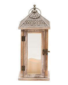14in Wood Lantern With Led Candle