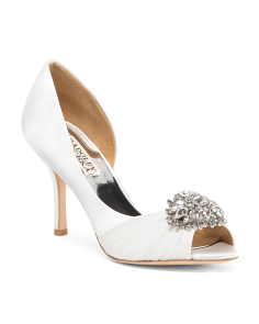 Satin Embellished D'orsay Shoes