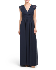 Ruffle V Neck Gown
