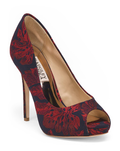 Jacquard Peep Toe Evening Pumps