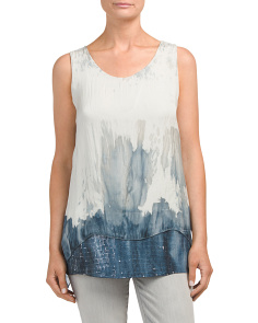Made In Italy Silk Dip Dye Sequined Tank
