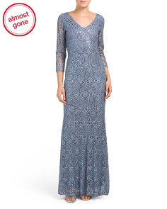 V-neck Sequin All Over Lace Gown