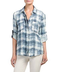 Juniors Plaid Button Down Shirt