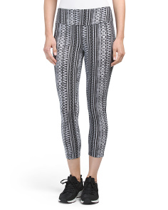 Vertical Printed Tummy Control Crop Pants
