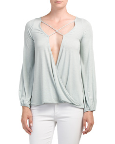 Juniors Made In USA Criss Cross Surplice Top