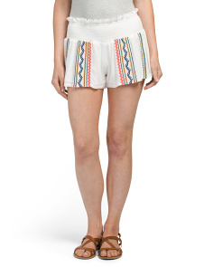 Juniors Embroidered Motif Shorts