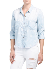 Juniors Star Print Chambray Shirt