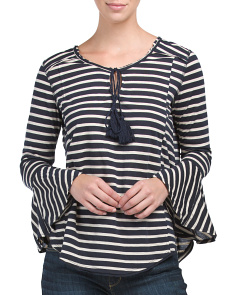 Juniors Striped Knit Bell Sleeve Top