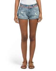 Juniors Aztec Medallion Denim Shorts