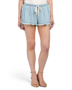 Juniors Frayed Trim Shorts