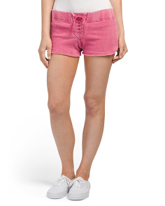 Juniors Burnout Lace Up Shorts