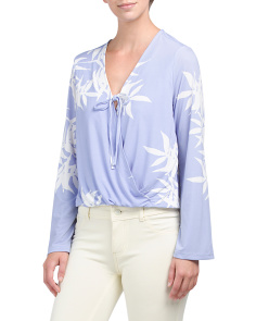 Juniors Palm Print Surplice Top