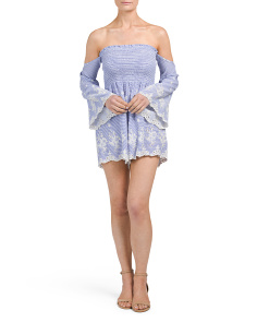 Juniors Made In USA Pinstriped Embroidered Romper