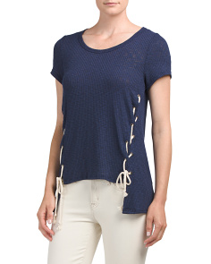 Juniors Made In USA Ribbed Side Lace Up Top