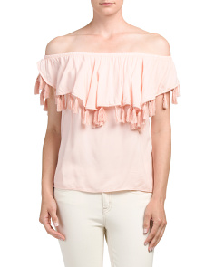 Juniors Made In USA Tassel Trim Top