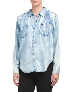 Juniors Tie Dye Chambray Shirt