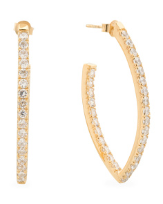 Made In Thailand 18k Gold Plated Sterling Silver CZ Marquis Earrings