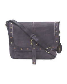 Studded Leather Messenger Bag
