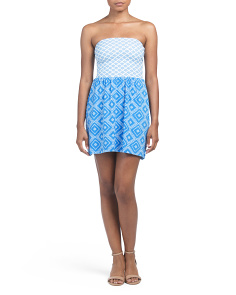 Juniors Twin Print Bow Back Tube Dress