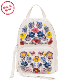 Made In Italy Leather Floral Backpack