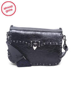 Made In Italy Rockstud Noir Leather Crossbody