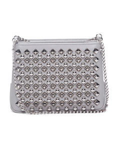 Made In Italy Small Triloubi Studded Leather Shoulder Bag